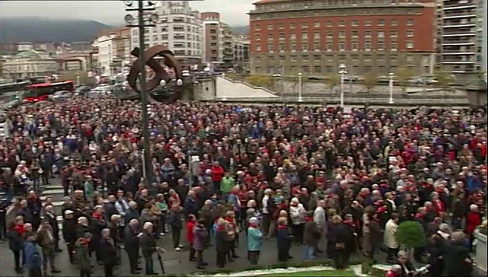 Diez meses de concentraciones de los pensionistas en Bilbao