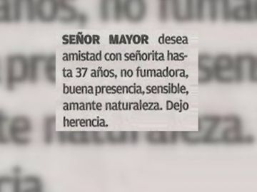 """Un anciano busca una esposa """"de hasta 37 años"""" prometiendo 400.000 euros de herencia"""