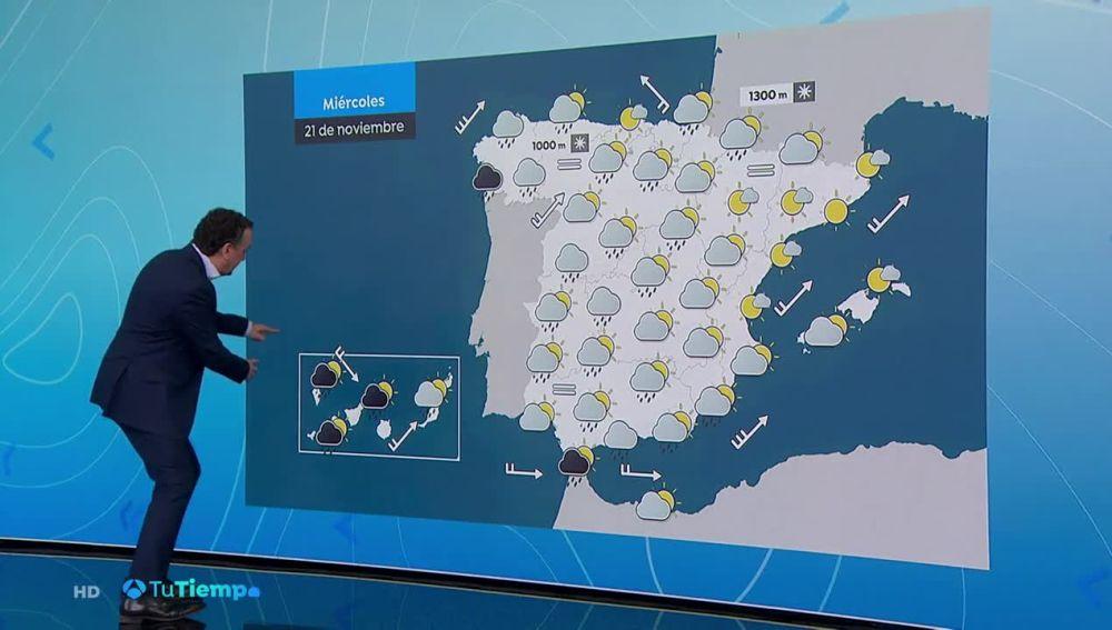 Precipitaciones fuertes o persistentes en Galicia, área del Estrecho y oeste de Canarias