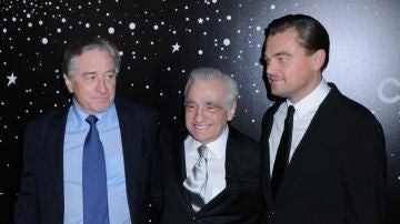Robert De Niro, Martin Scorsese y Leonardo DiCaprio en la gala homenaje al cineasta.