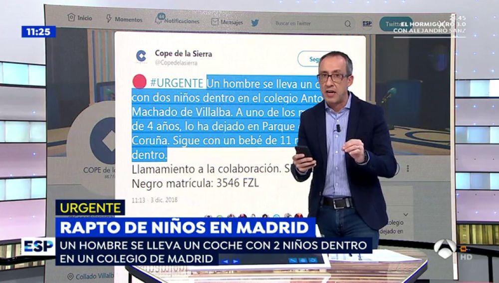 Un hombre roba un coche con dos niños dentro en un colegio de Madrid.