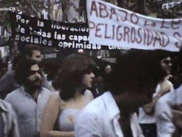Pancarta de 'Abajo la Ley de Peligrosidad Social'