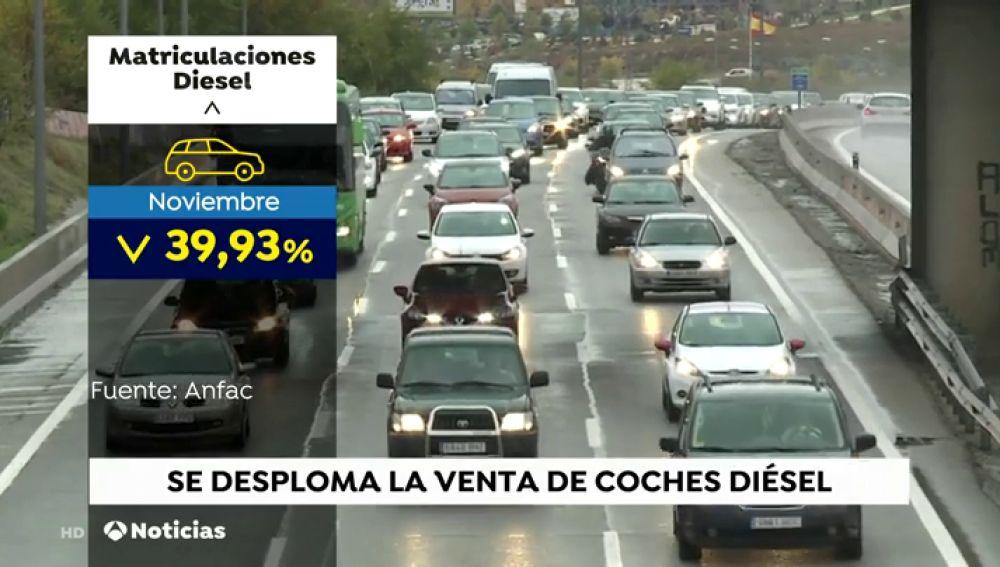 La venta de coches diésel continúa cayendo: en noviembre se han vendido un 40% menos