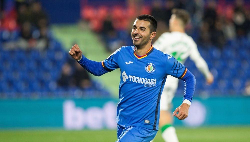 Ángel celebra uno de sus goles con el Getafe
