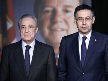Florentino Pérez, junto a Bartomeu en el memorial a Josep Lluís Núñez