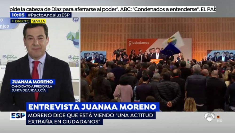 """Moreno asegura que C's tiene una """"actitud extraña"""": """"Parece que vira hacia el PSOE y quiere echarle un salvavidas a Susana Díaz"""""""
