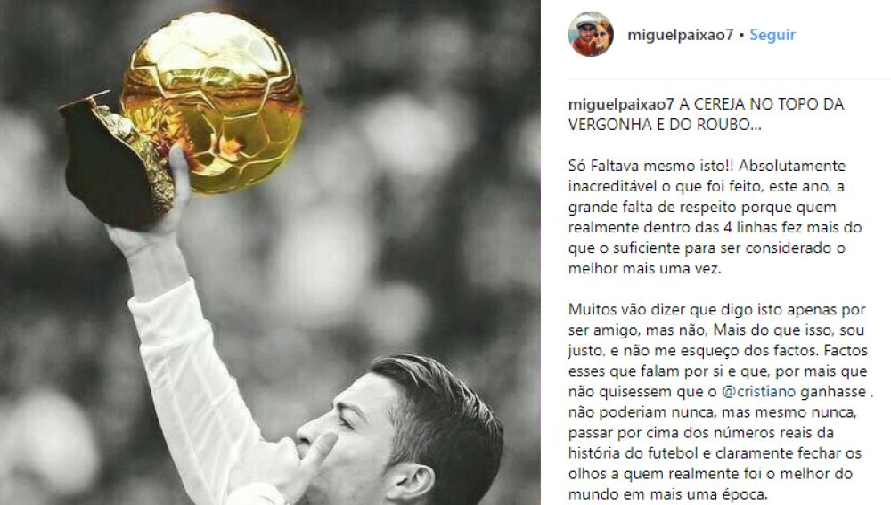 El mensaje de Miguel Paixao en apoyo a Cristiano Ronaldo