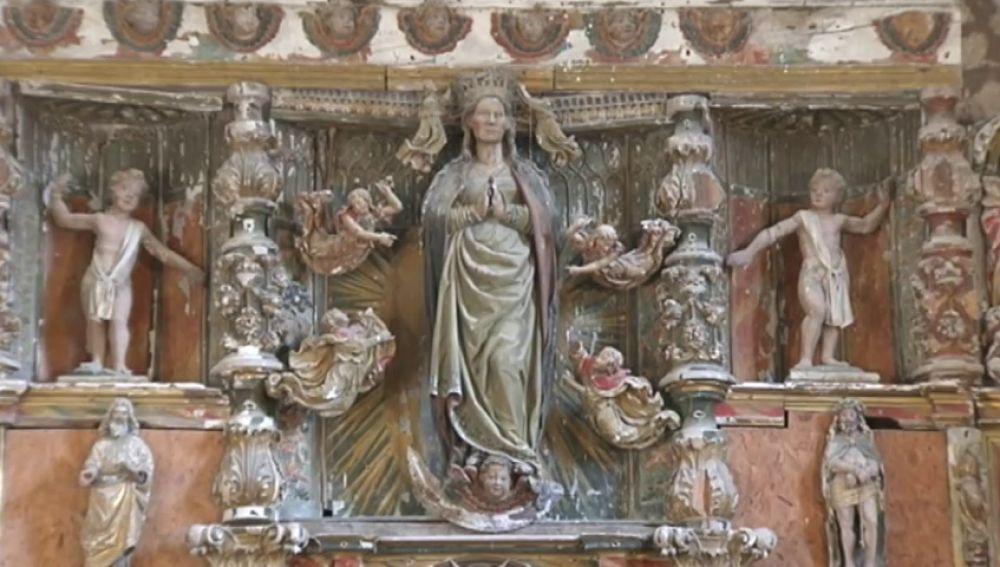 Las termitas se comen un retablo de Virgany en una iglesia en Burgos