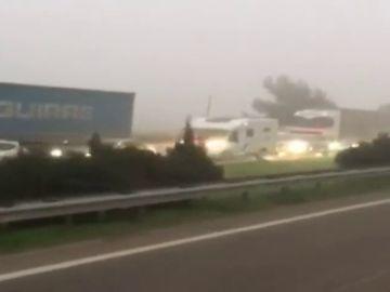 Hasta 12 kilómetros de atasco por las protestas de camiones en Tarragona y Lleida
