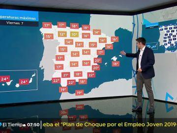 Vientos con intervalos de intensidad fuerte en el litoral norte de Galicia y el litoral Cantábrico