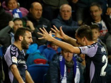 Antoñito celebra su gol contra la Real Sociedad