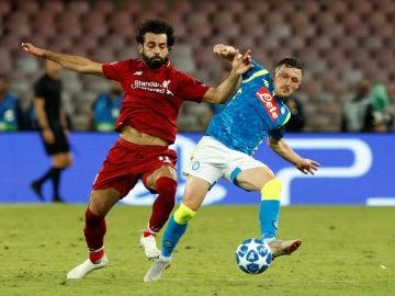 Momento del partido de Nápoles-Liverpool de Champions