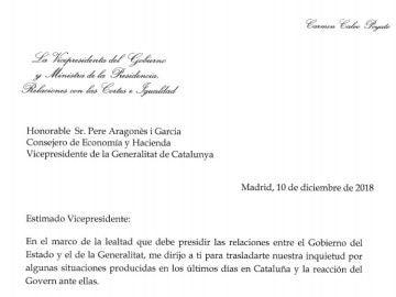 Carta del Gobierno a la Generalitat