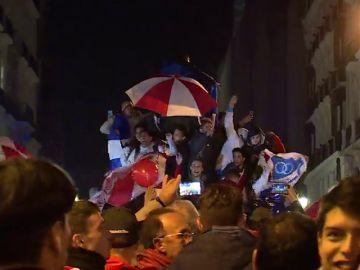 La afición de River Plate celebra la Copa Libertadores en la Puerta del Sol