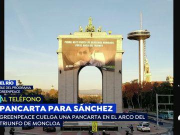 Pancarta gigante contra Pedro Sánchez en Madrid
