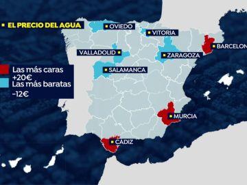 El mapa del precio del agua en España: ¿en qué ciudad es más cara?