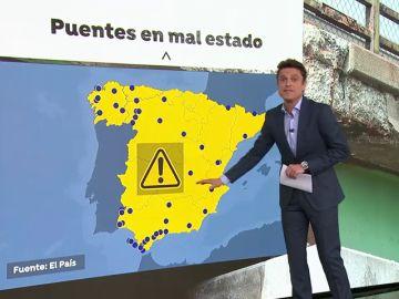 El mapa de los puentes en mal estado de España