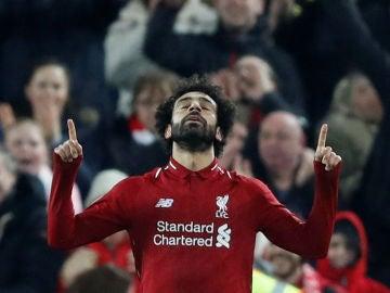 Mohamed Salah celebra su gol con el Liverpool