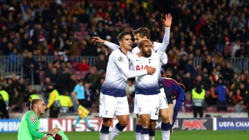 Lucas Moura celebra el gol del Tottenham