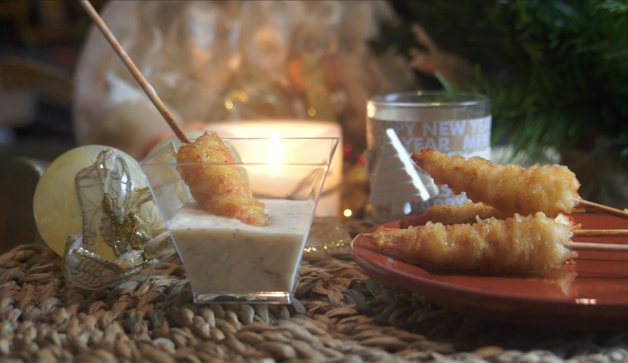 Al rico gambón frito en fideos de arroz.