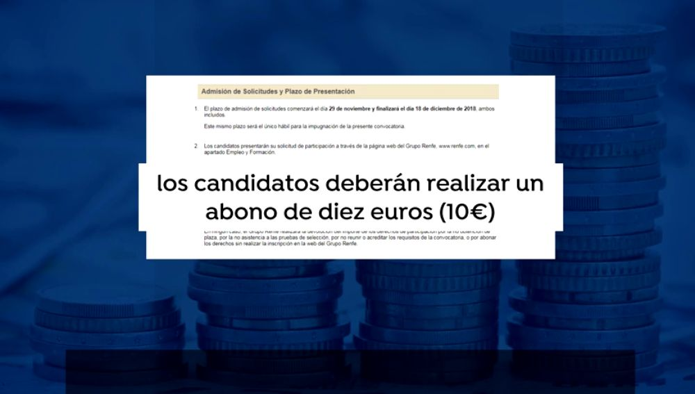 Renfe cobra 10 euros por inscribirse a sus ofertas de empleo