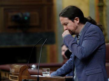 Pablo Iglesias durante su intervención ante el pleno del Congreso tras la comparecencia del presidente del Gobierno