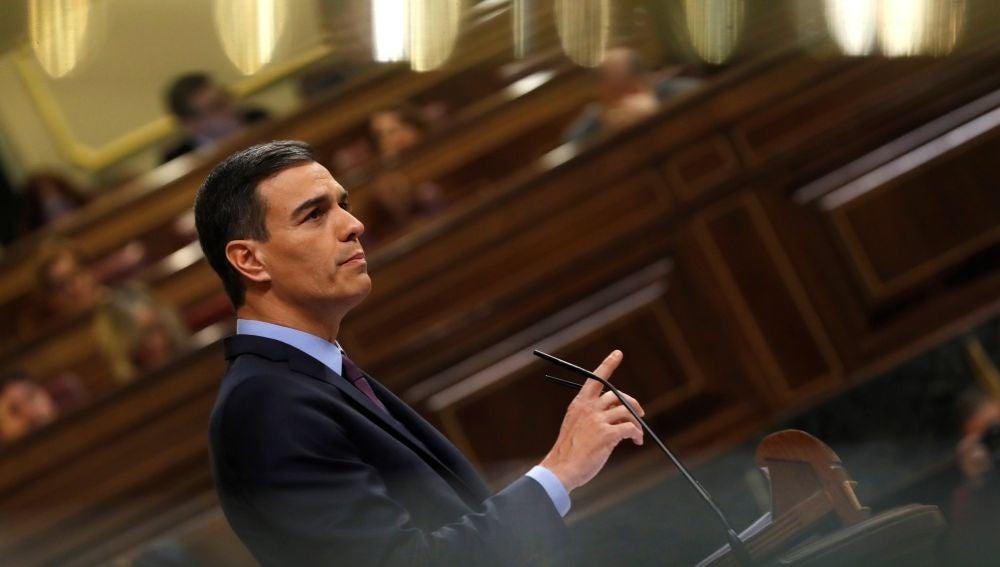 El presidente del Gobierno, Pedro Sánchez, durante su intervención