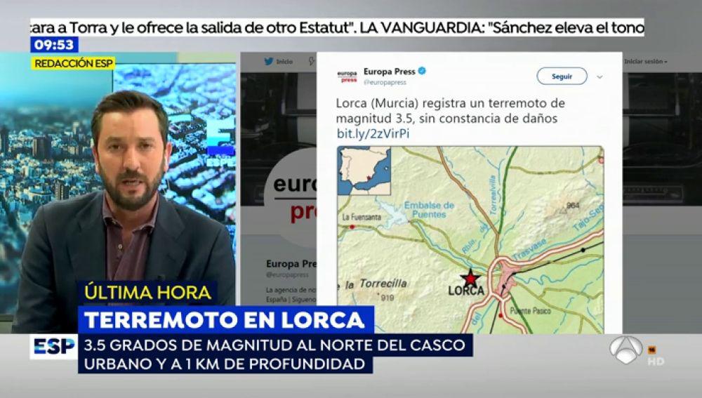 Un terremoto de 3.5 grados sacude Lorca