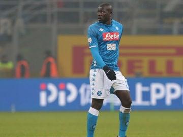 Koulibaly, durante un partido con el Nápoles