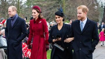 El príncipe Guillermo, Kate, Meghan y el príncipe Harry