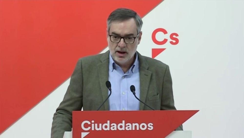 """Villegas asegura que C's solo aceptará compartir el Gobierno de coalición con el PP y descartan formar """"ningún tipo de tripartito"""""""