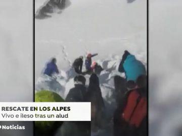 Un niño de 12 años, rescatado en los Alpes tras casi una hora sepultado bajo la nieve