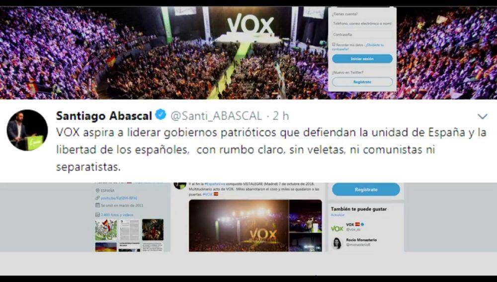 "Abascal responde a Rivera: ""Vox aspira a liderar gobiernos patrióticos sin veletas ni separatistas"""