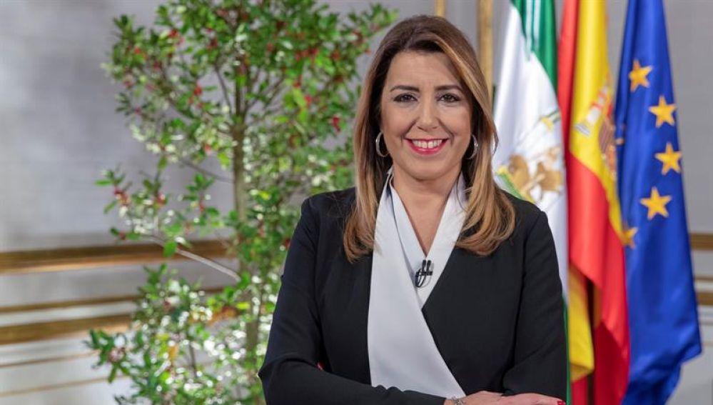 Susana Díaz durante el discurso de Fin de año