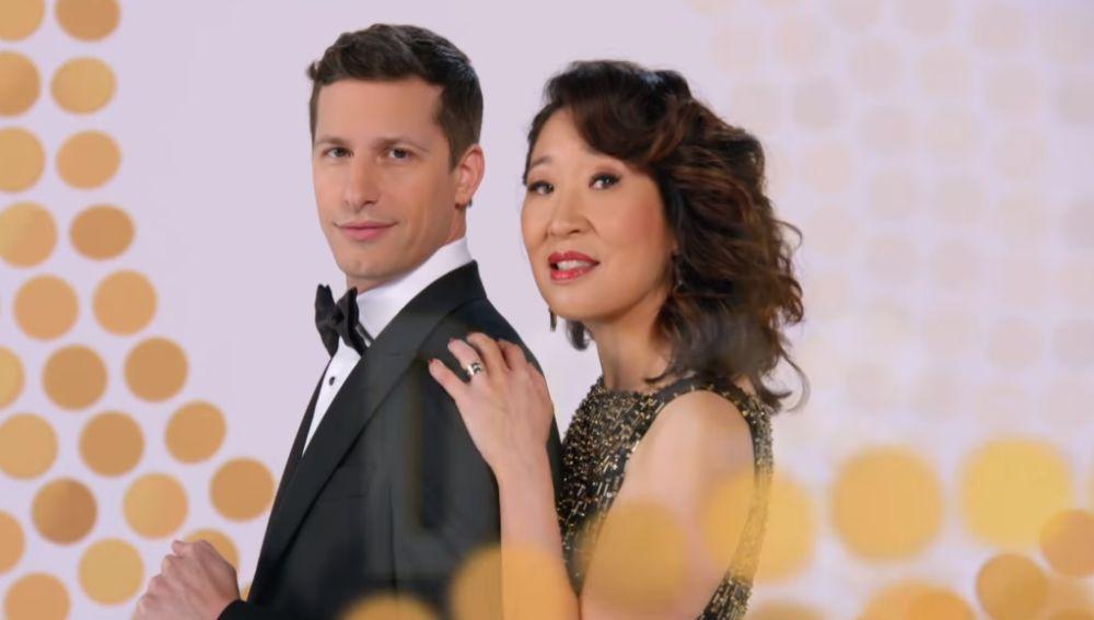 Sandra Oh y Andy Samberg, presentadores de los Globos de Oro