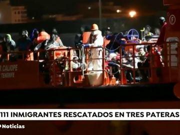 Rescatadas 111 personas de tres pateras en el mar de Alborán y el Estrecho