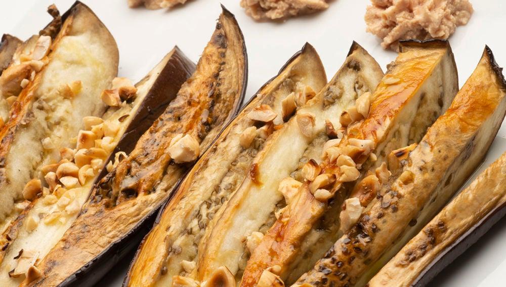 Berenjenas con mousse de foie
