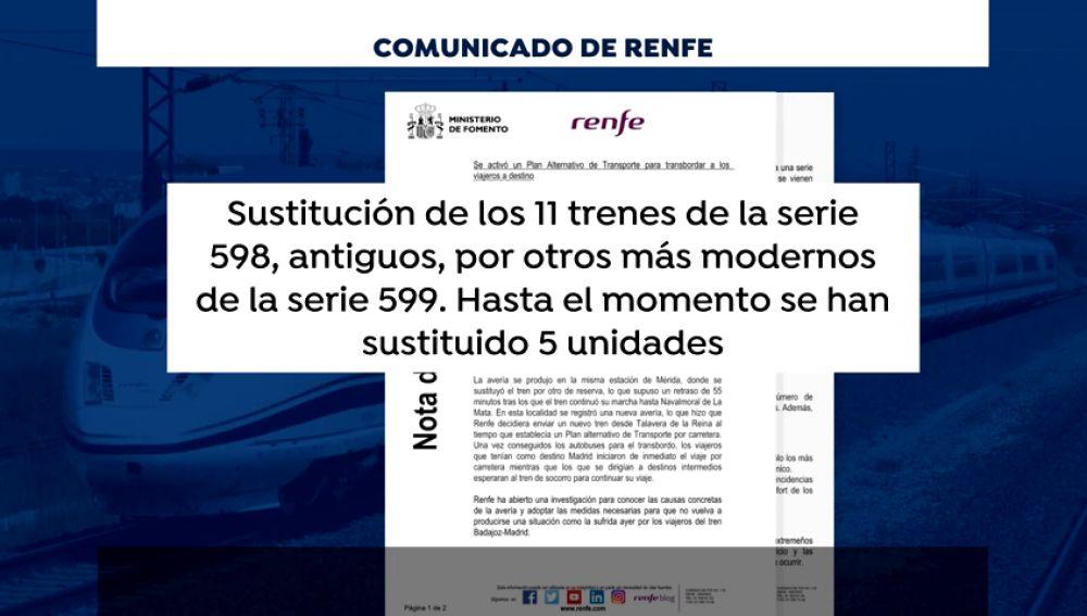 Renfe investigará la avería del tren Badajoz-Madrid y completará la sustitución de once trenes