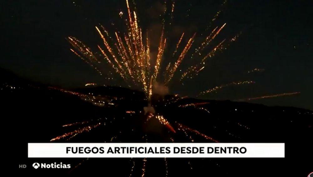 La espectacular imagen grabada por un dron de los fuegos artificiales de Año Nuevo en la localidad barcelonesa de La Roca del Vallés