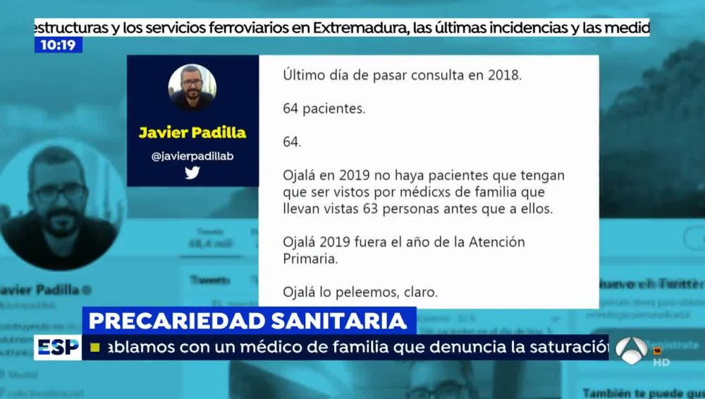 Javier Padilla, médico que denuncia saturación