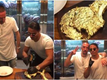 Ribéry se come un filete bañado en oro preparado por Salt Bae