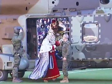 Reyes Magos en helicóptero