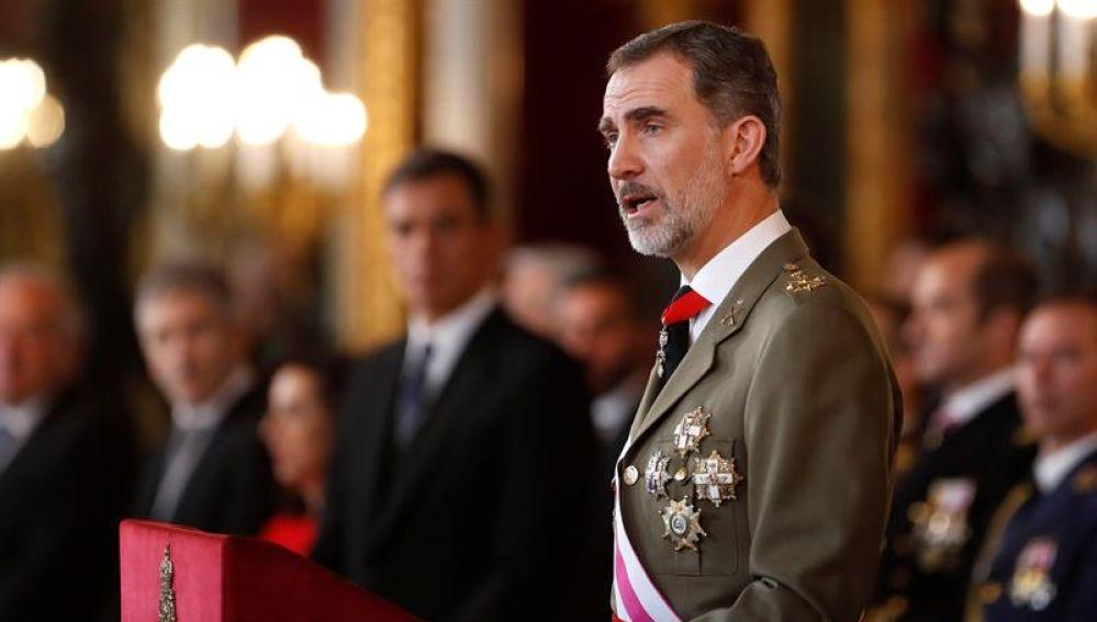 El Rey Felipe VI durante su discurso en la Pascua Militar