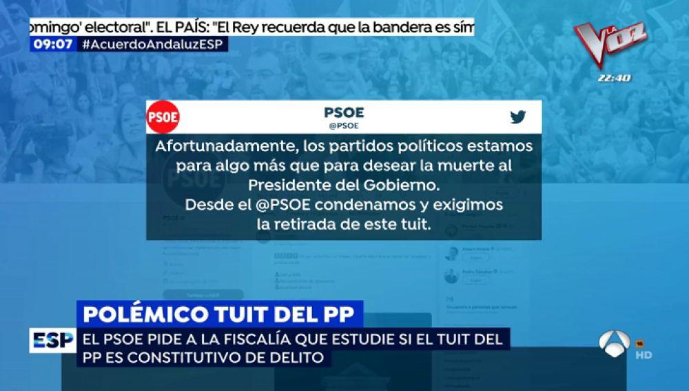 El PP pide la muerte de Sánchez en un tuit