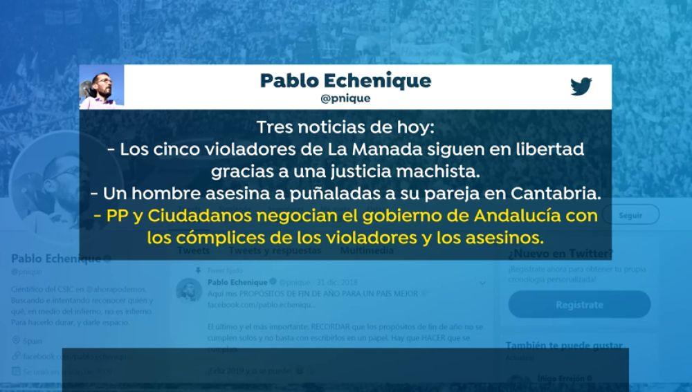 Vox se querella contra Pablo Echenique por un tuit