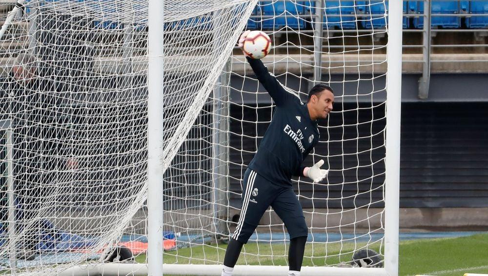 Keylor Navas, durante un entrenamiento con el Real Madrid