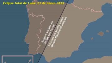 Zonas donde se verá mejor el eclipse total del domingo