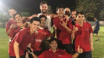 Chris Hemsworth, en un partido de fútbol