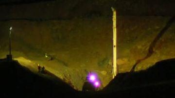 Trabajos de noche en la excavación de Julen