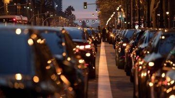 Taxistas concentrados en Barcelona